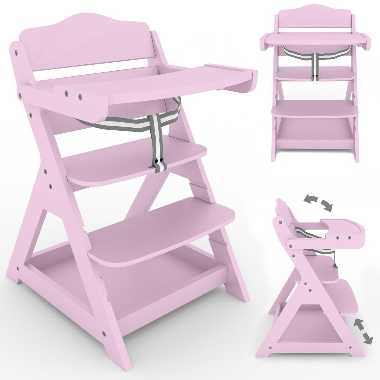 2-in-1-Treppenhochstuhl-Kinderhochstuhl-Holz-Hochstuhl-Kinderstuhl-Babyhochstuhl