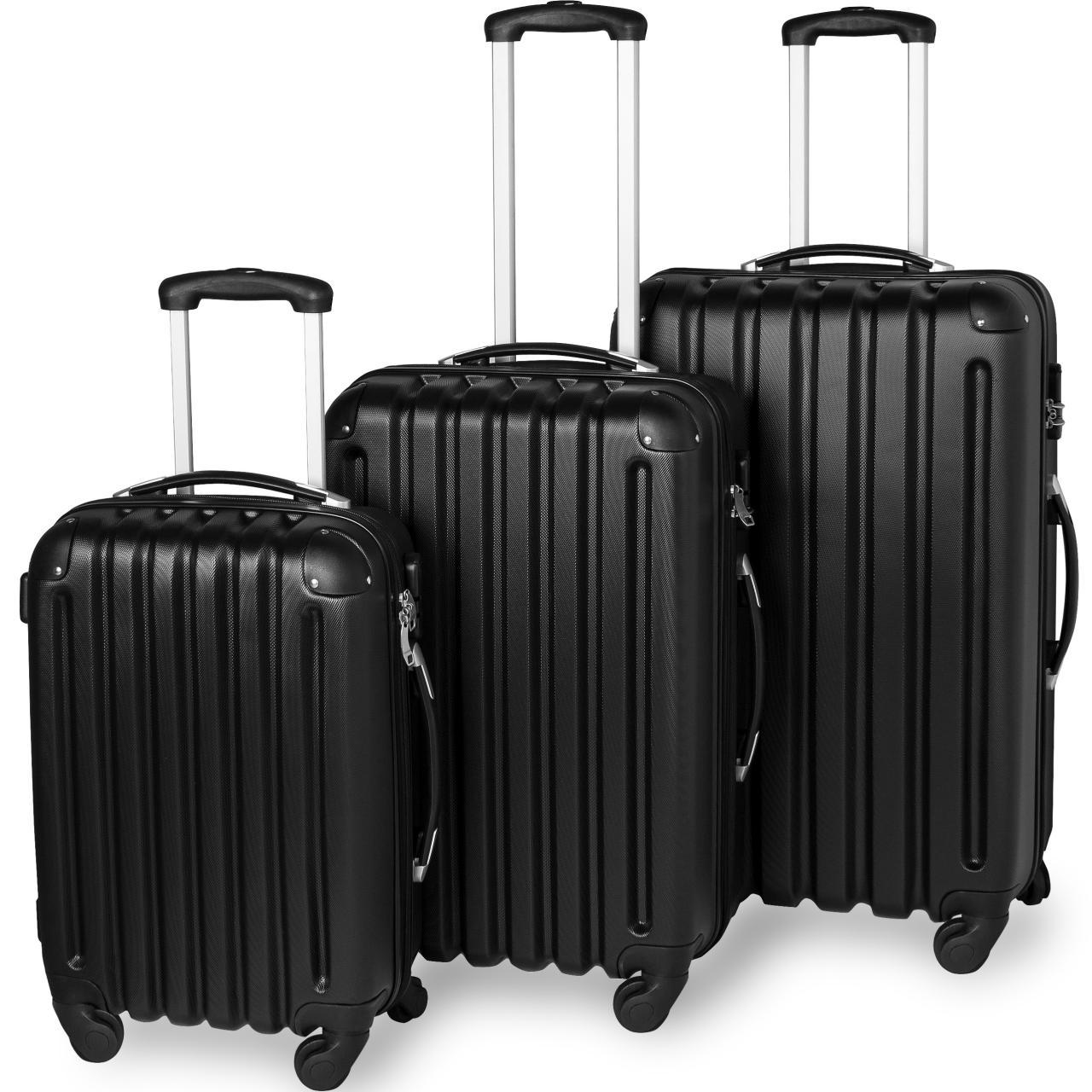 3tlg-Reisekoffer-Set-Trolley-Hartschale-Hartschalenkoffer-Reisekofferset-L-M-S