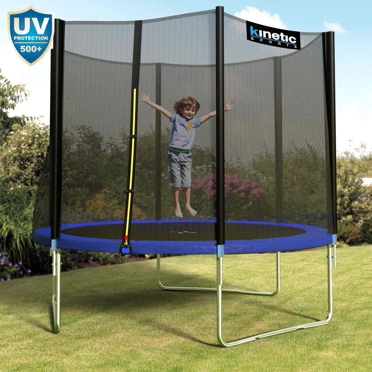 Kinetic-Sports-Trampolin-Outdoor-Garten-inkl-Netz-Sprungtuch-Randabdeckung-SET