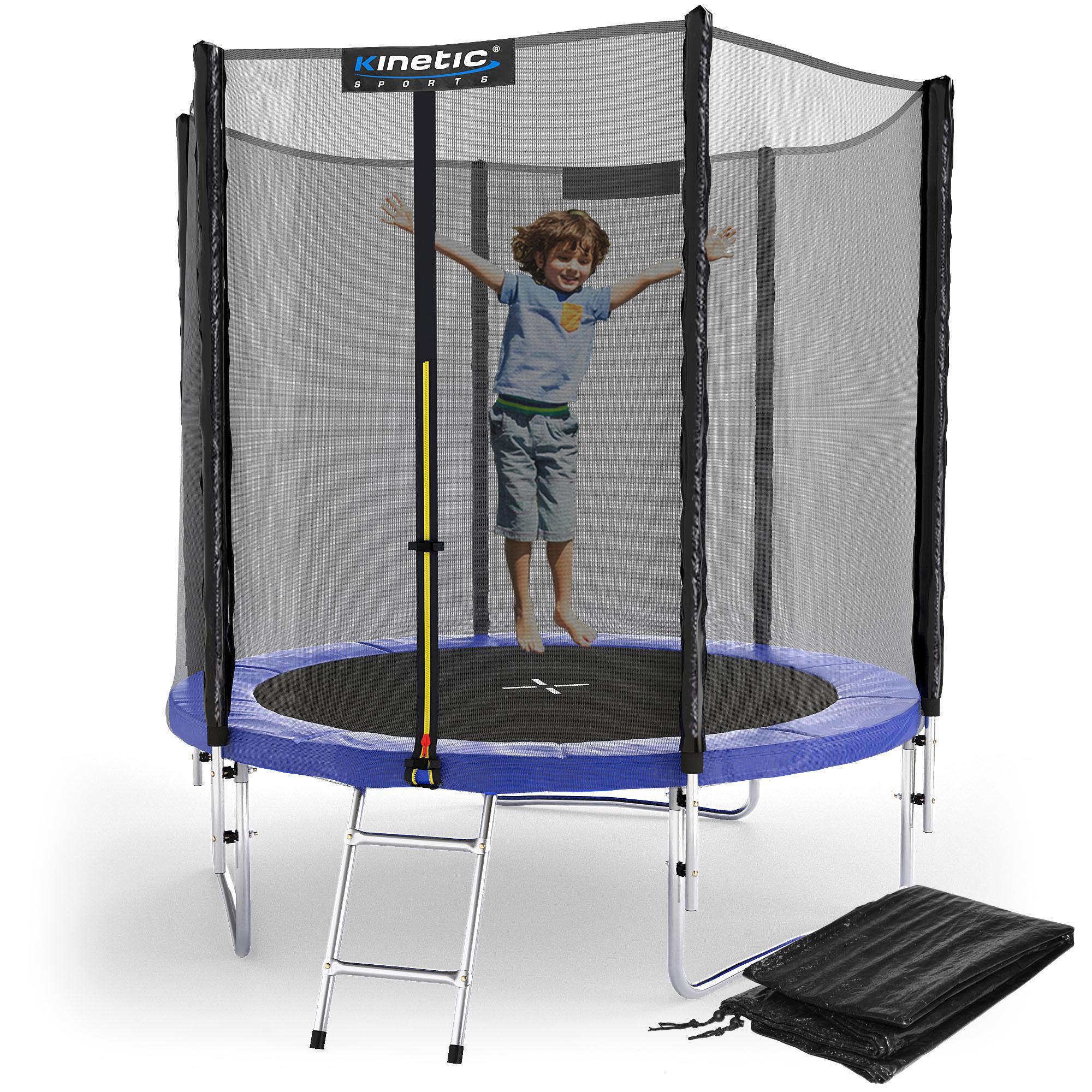 kinetic sports trampolin gartentrampolin mit zubeh r netz leiter regenplane set ebay. Black Bedroom Furniture Sets. Home Design Ideas