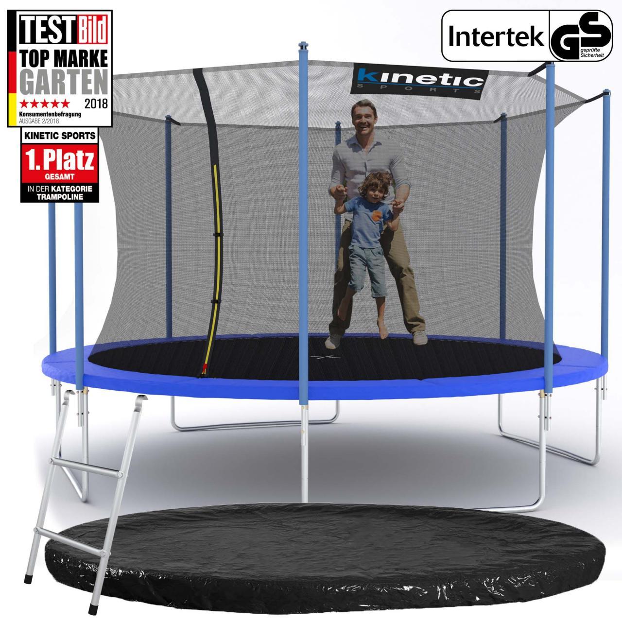 Kinetic-Sports-Trampolin-Gartentrampolin-mit-Zubehoer-Netz-Leiter-Regenplane-SET