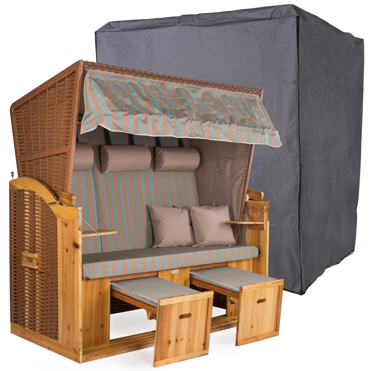 strandkorb xxl deluxe 160cm mit schutzh lle 600d volllieger nordsee gartenm bel ebay. Black Bedroom Furniture Sets. Home Design Ideas