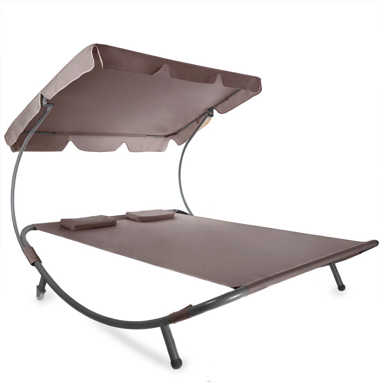 sonnenliege gartenliege relaxliege doppelliege liege dach sonnendach neu ebay. Black Bedroom Furniture Sets. Home Design Ideas