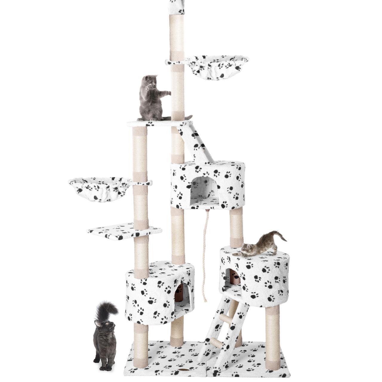 Kratzbaum-Deckenhoch-Katzenkratzbaum-Katzenbaum-Kletterbaum-Hoehlen-Liegemulde