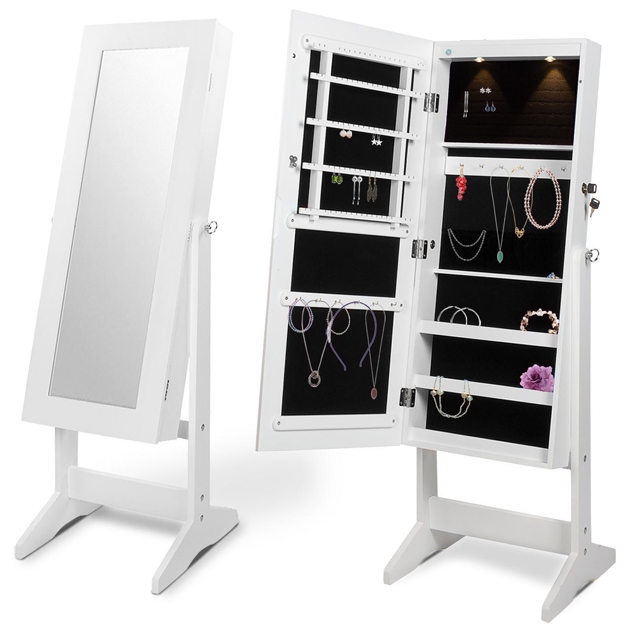 schmuckschrank spiegelschrank spiegel standspiegel schmuck wei eckig ebay. Black Bedroom Furniture Sets. Home Design Ideas