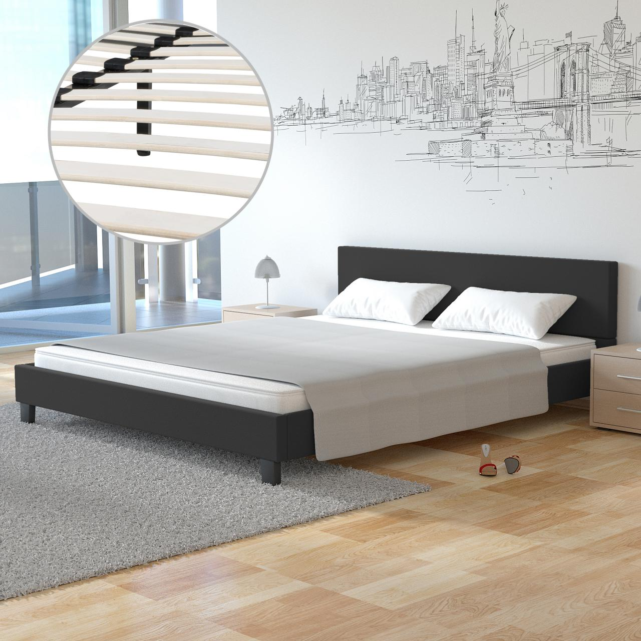 polsterbett doppelbett bettgestell bettrahmen kunstlederbett bett mit lattenrost ebay. Black Bedroom Furniture Sets. Home Design Ideas
