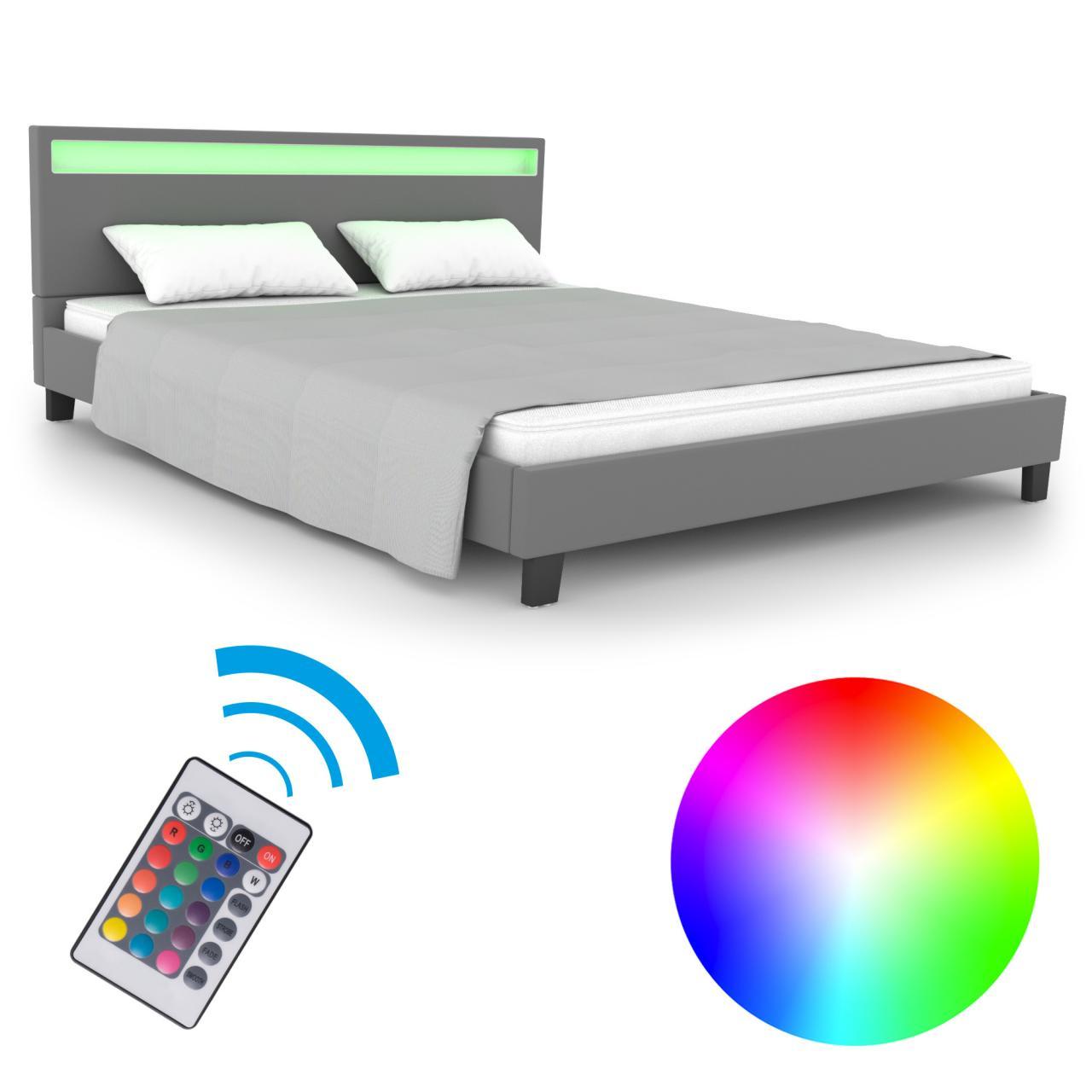 Homelux-LED-Bett-Polsterbett-Doppelbett-Kunstlederbett-Bettgestell-Bettrahmen