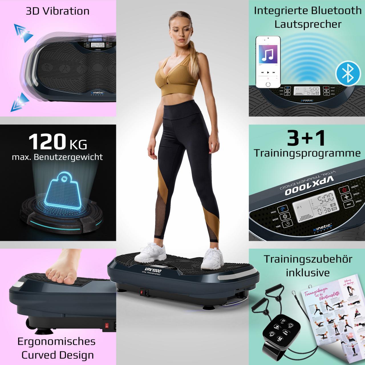 Kinetic Sports 3D Vibrationsplatte VPX1000 VITAL TRAINER ERGO Curved Design