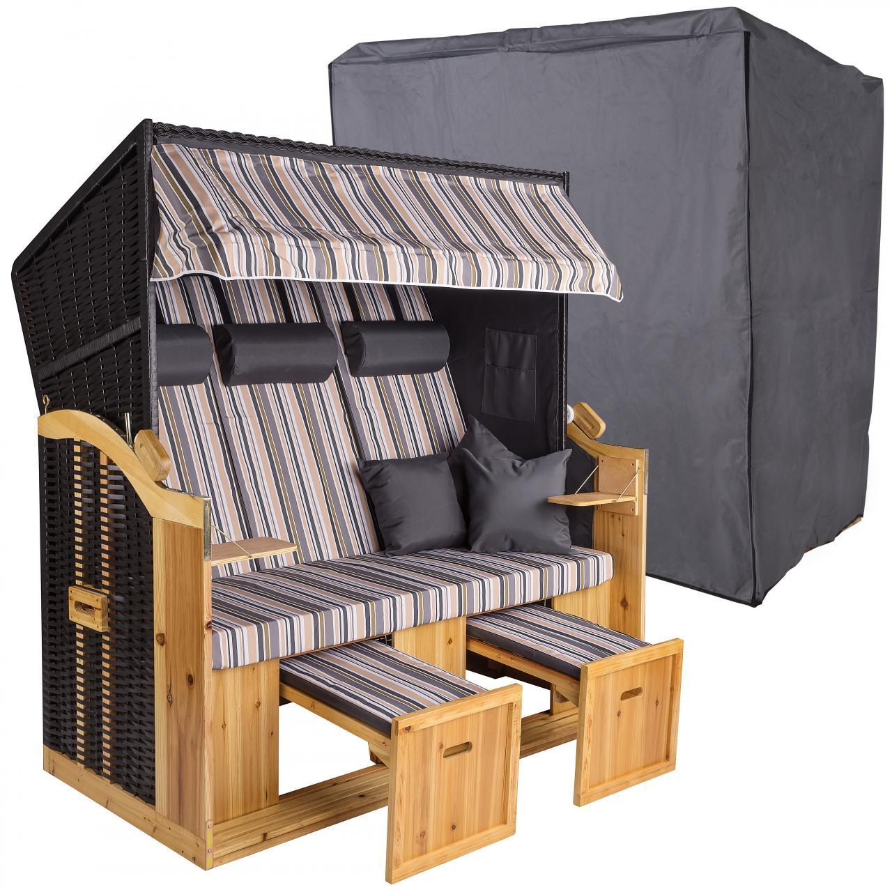 strandkorb xxl 160cm inklusive schutzh lle 600d volllieger ostsee gartenm bel ebay. Black Bedroom Furniture Sets. Home Design Ideas