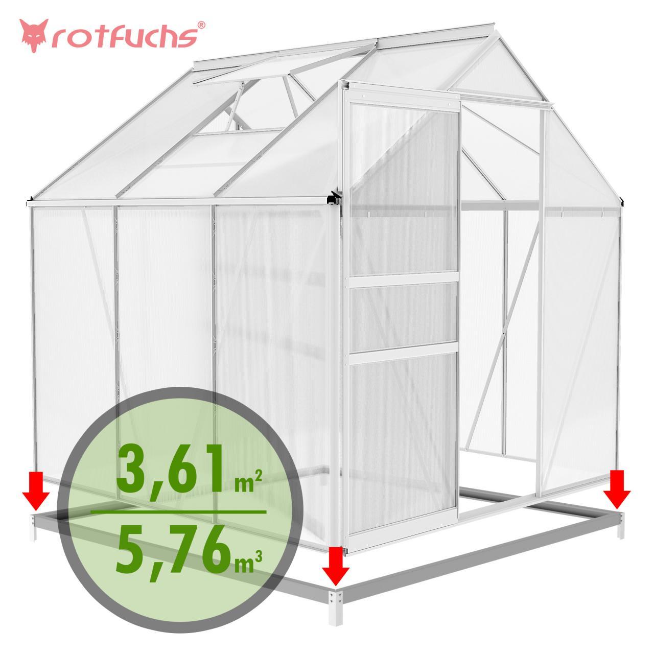 rotfuchs alu gew chshaus mit fundament treibhaus fr hbeet garten tomatenhaus ebay. Black Bedroom Furniture Sets. Home Design Ideas