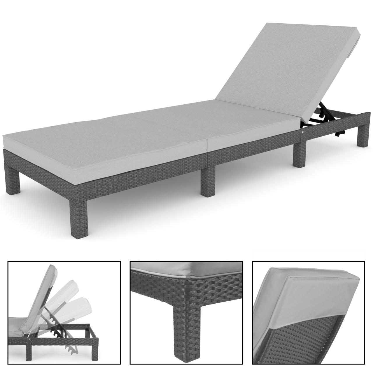 polyrattan sonnenliege garten liege rattan gartenm bel gartenliege rattanm bel ebay. Black Bedroom Furniture Sets. Home Design Ideas