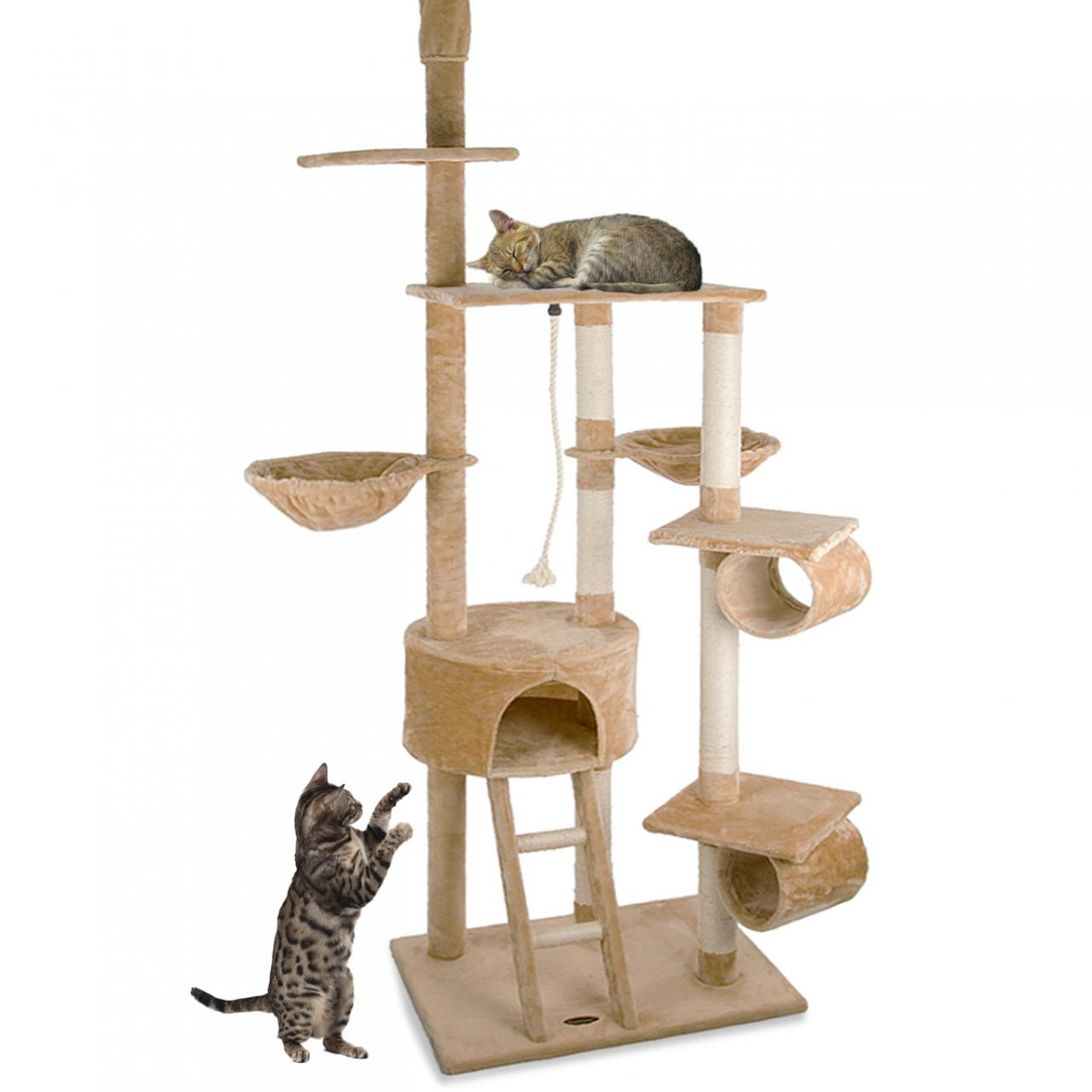 arbre chat griffoir grattoir 230 250cm diverses couleurs happypet cat005 2 ebay. Black Bedroom Furniture Sets. Home Design Ideas