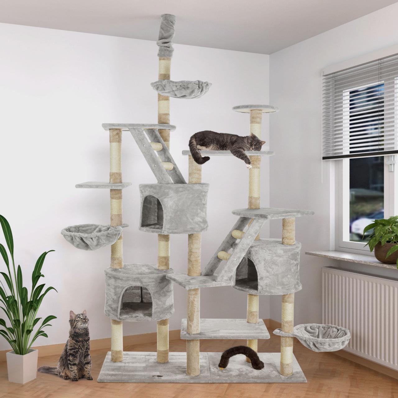 happypet-Katzenbaum-XXL-Kratzbaum-Katzenkratzbaum-deckenhoch-260cm