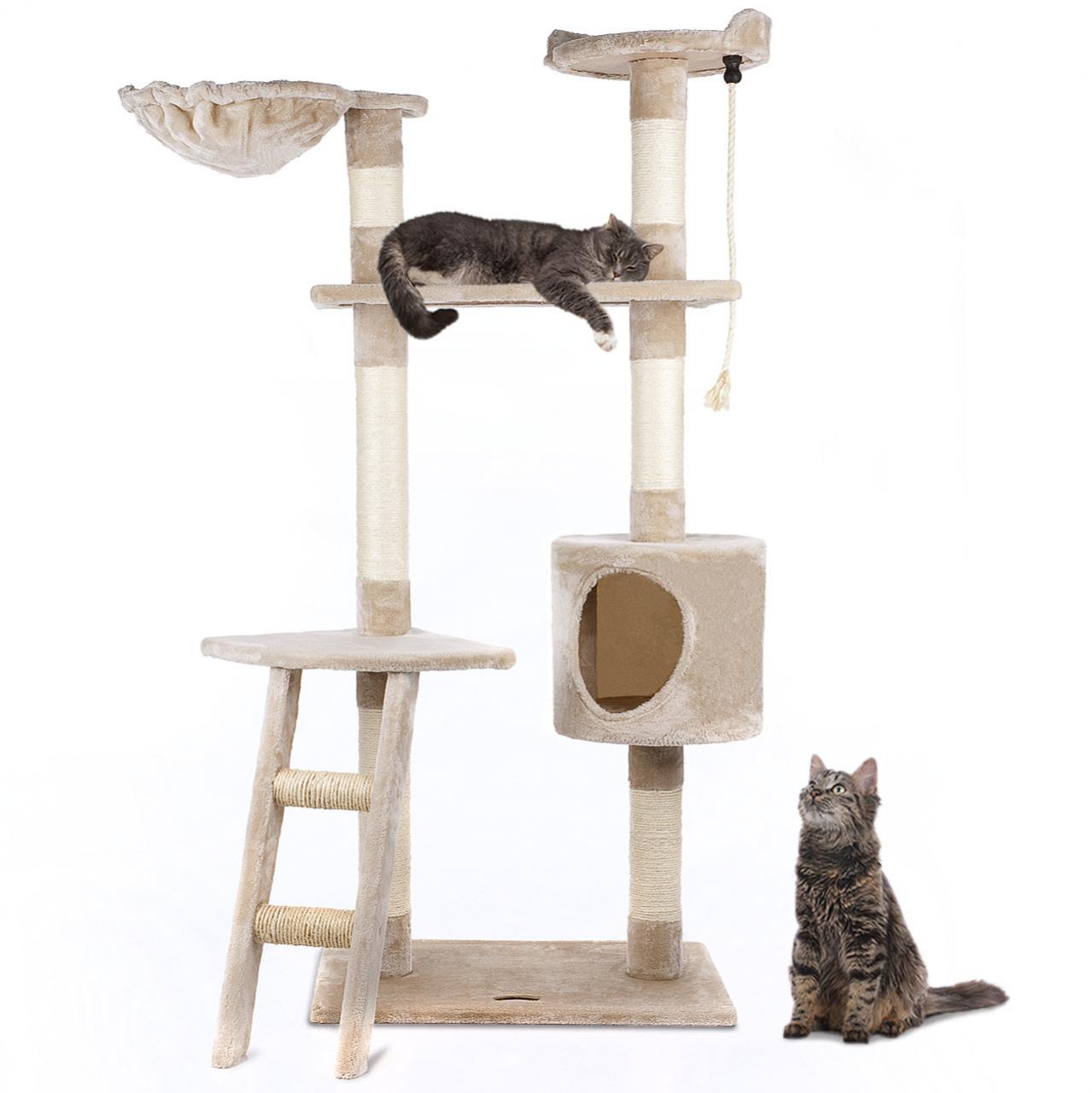 152cm cat tree kitten scratching post furniture sisal climbing excercise centre ebay. Black Bedroom Furniture Sets. Home Design Ideas