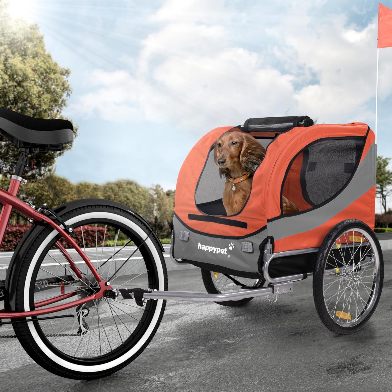 HAPPYPET-Hunde-Fahrrad-Anhaenger-M-Hundetransporter-Hundeanhaenger-Tier-FARBWAHL