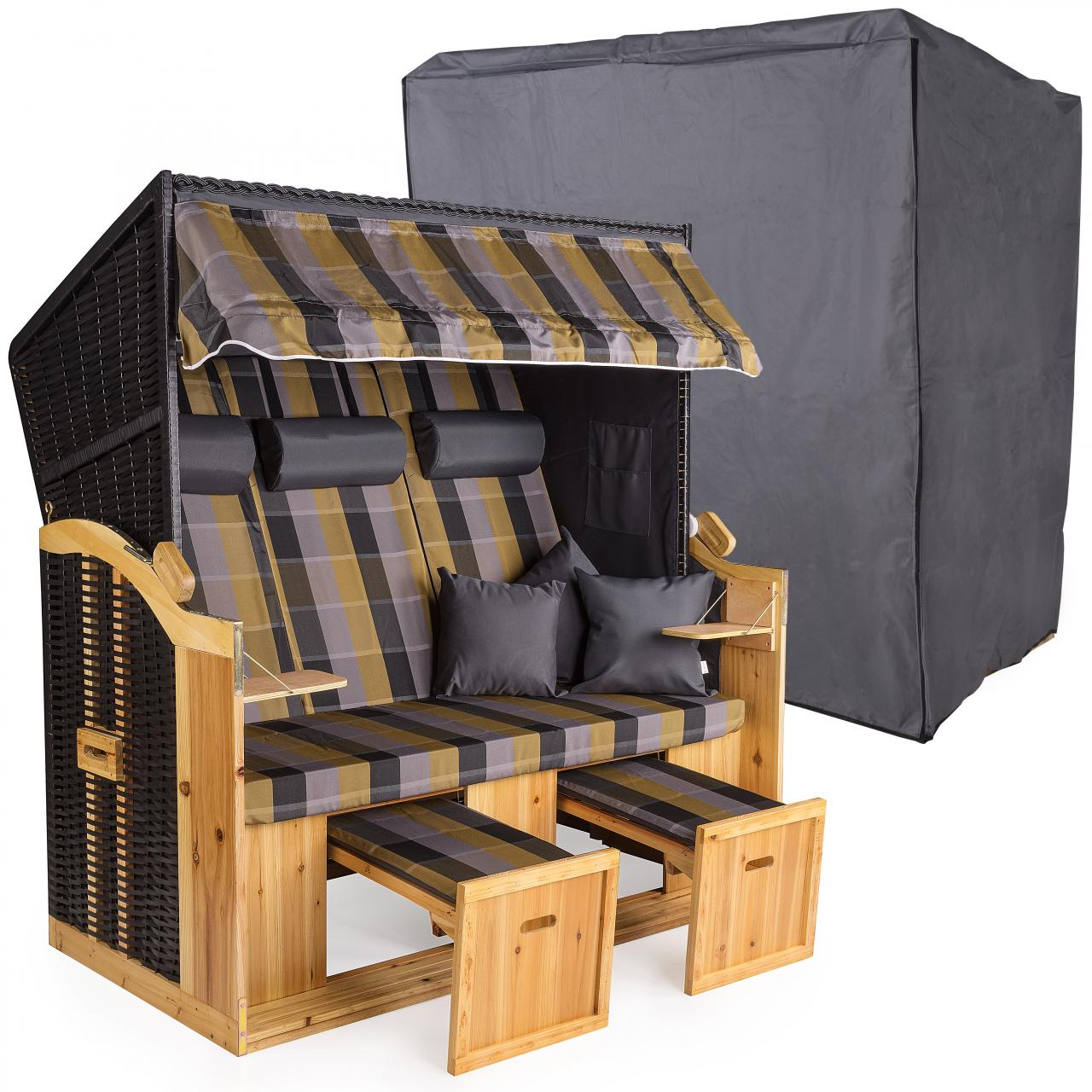 strandkorb xxl 160cm inklusive schutzh lle 600d volllieger. Black Bedroom Furniture Sets. Home Design Ideas