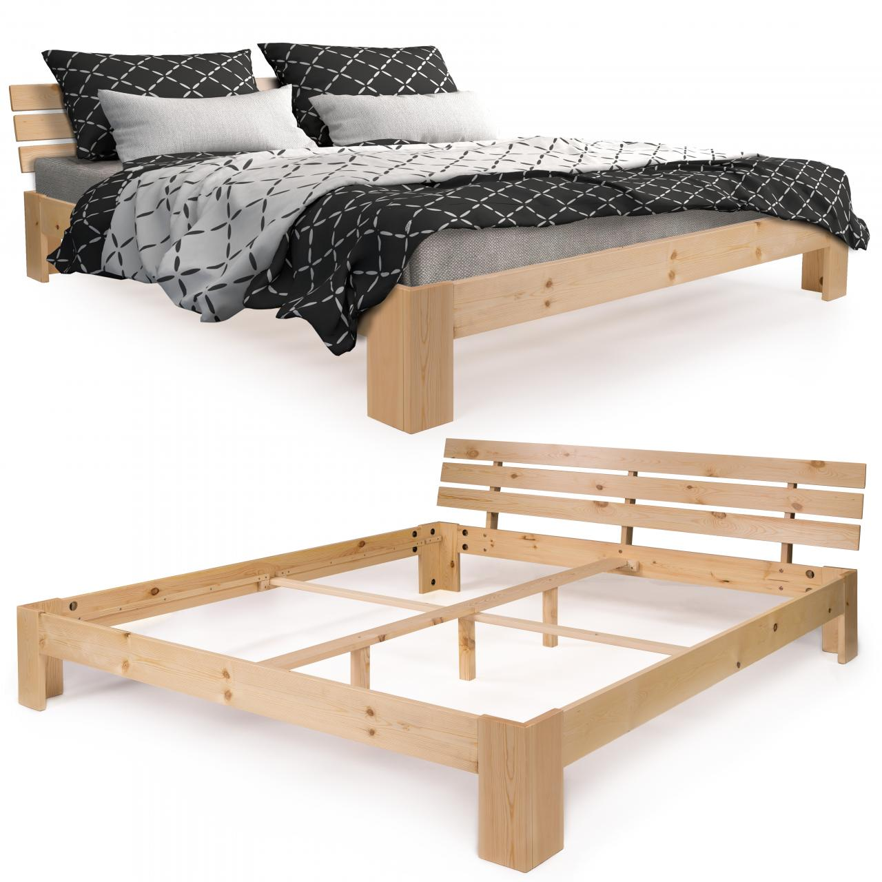 homelux holzbett kiefer doppel lattenrost bett rahmen gestell 140 180cm massiv ebay. Black Bedroom Furniture Sets. Home Design Ideas