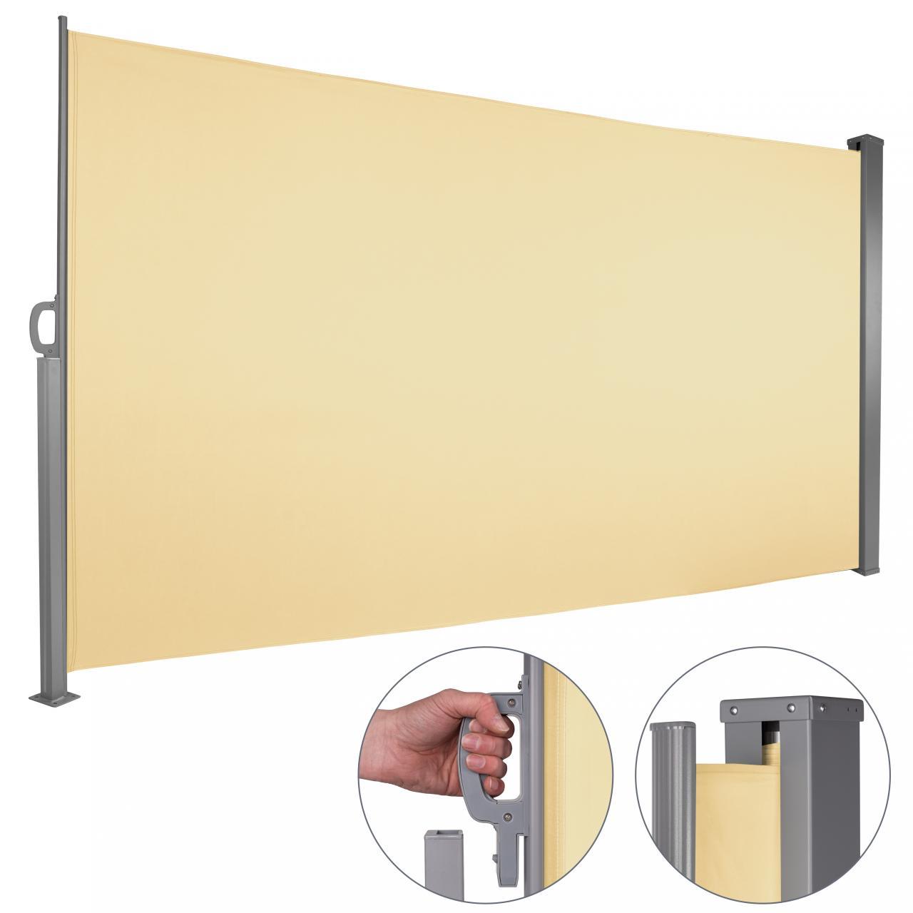 Seitenmarkise-Windschutz-Sichtschutz-Seitenrollo-Markise-Terrasse-Sonnenschutz