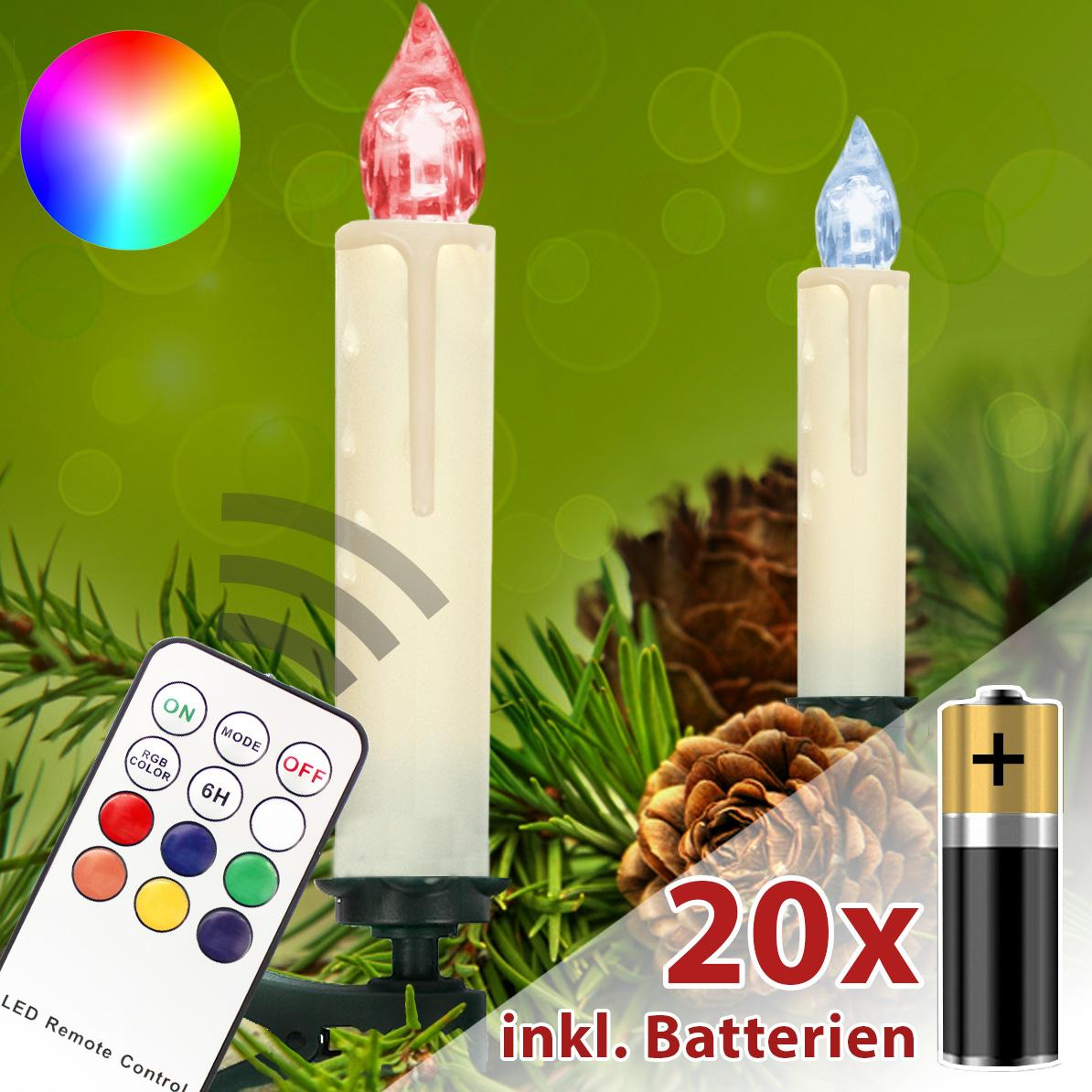 led weihnachtskerzen rgb kabellose lichterkette weihnachtsbaumbeleuchtung kerzen ebay. Black Bedroom Furniture Sets. Home Design Ideas