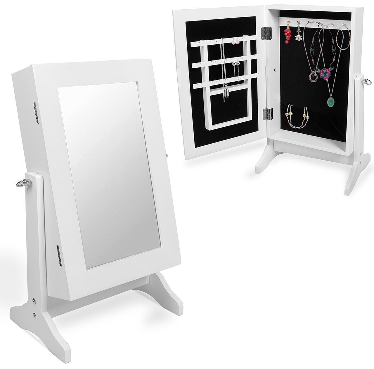 Schmuckschrank-Spiegelschrank-Standspiegel-Spiegel-Schmuck-Eckig-weiss