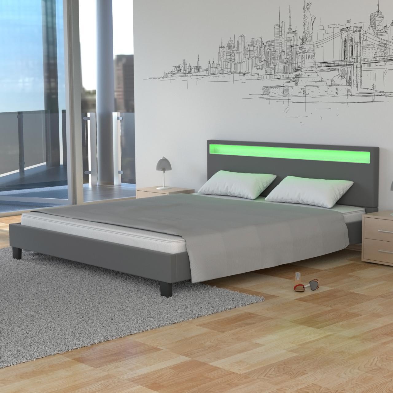 LED Bett PU Polsterbett Doppelbett Kunstleder Lattenrost Rahmen 140 ...