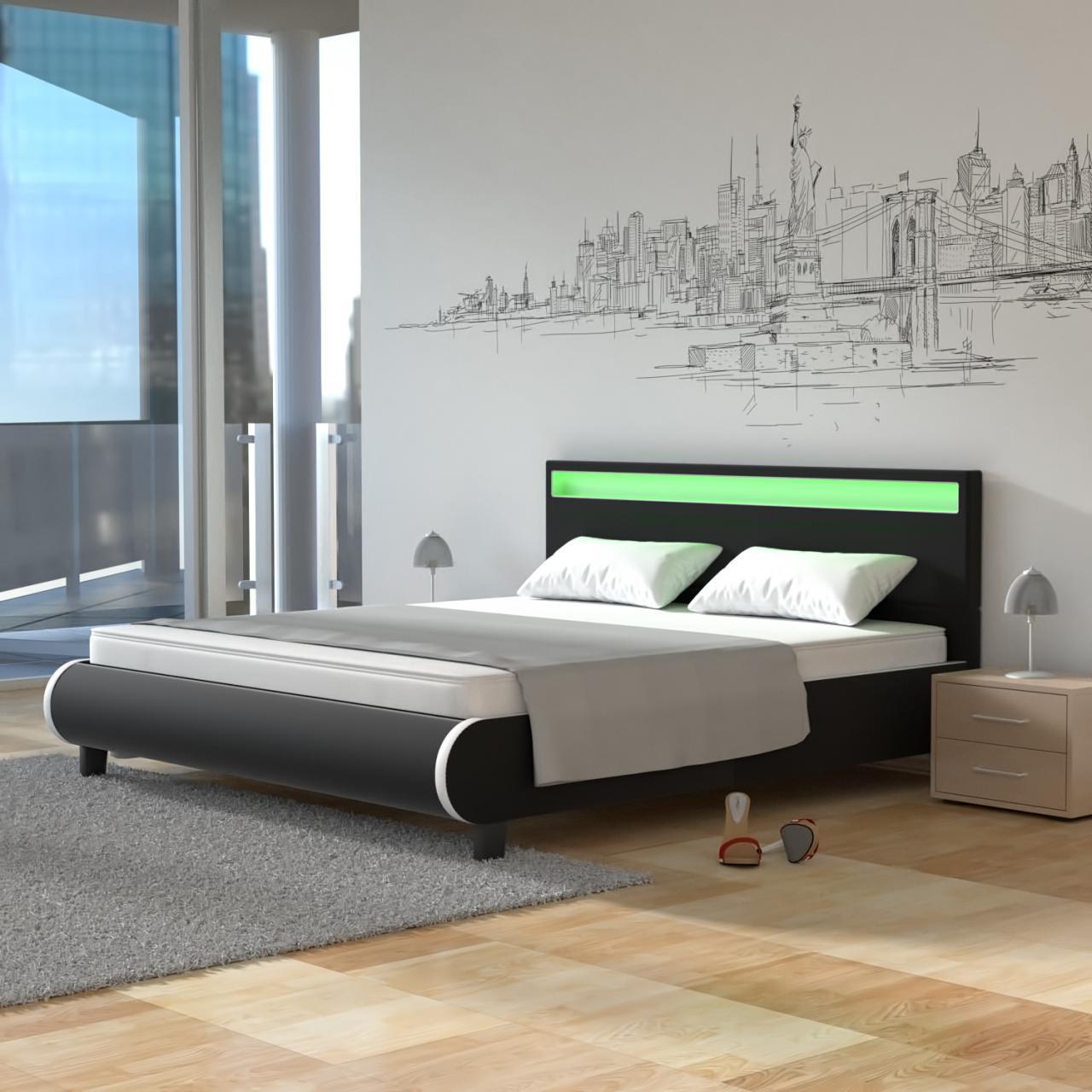 LED Bett PU 140cm Polsterbett Kunstleder Lattenrost Rahmen Polster ...