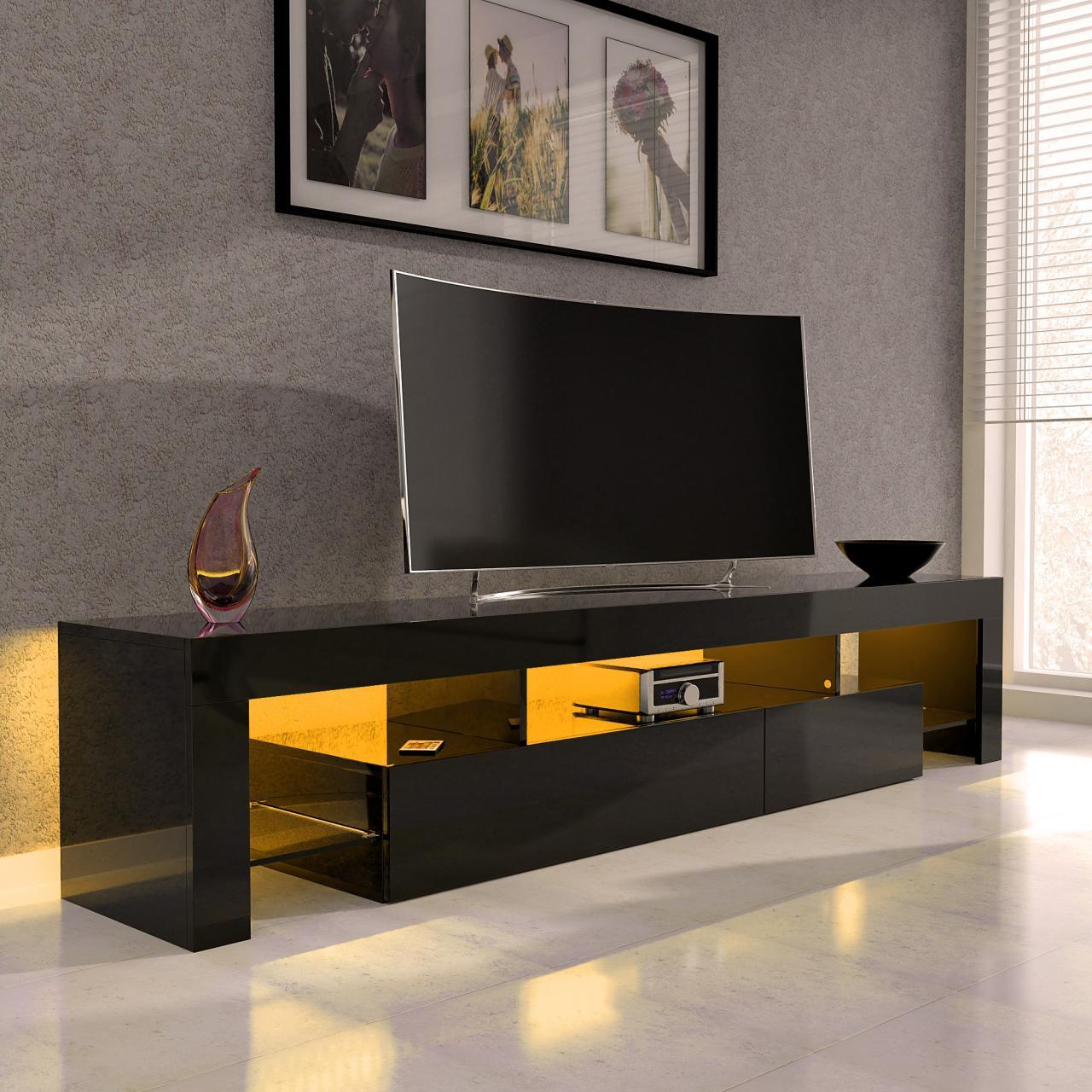 sanzaro tv lowboard schrank fernsehtisch hifi hochglanz. Black Bedroom Furniture Sets. Home Design Ideas