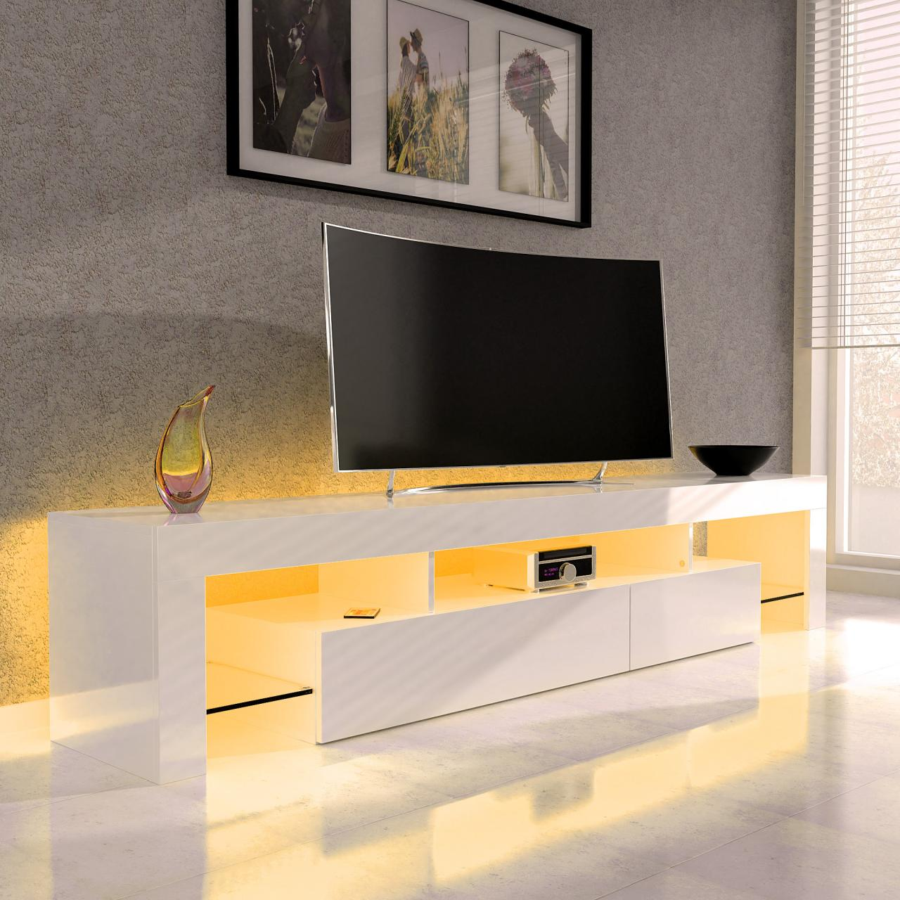sanzaro tv lowboard schrank fernsehtisch hifi hochglanz led beleuchtung farbwahl ebay. Black Bedroom Furniture Sets. Home Design Ideas