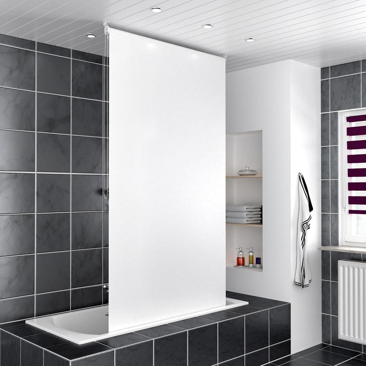 homelux duschrollo vorhang dusche bad alu klemmstange gr ssen farbwahl design ebay. Black Bedroom Furniture Sets. Home Design Ideas