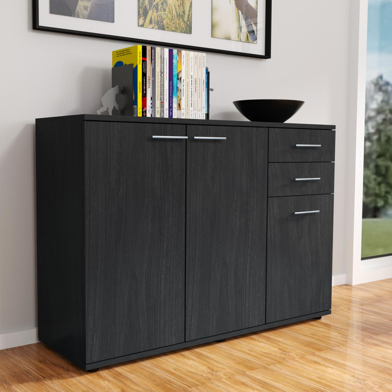moderne kommode sideboard highboard mehrzweckschrank anrichte weiss eiche grau ebay. Black Bedroom Furniture Sets. Home Design Ideas